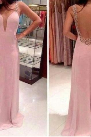 Sexy Open Back Chiffon Prom Dress With Lace, Floor Length Prom Dresses With Lace, Prom Dresses 2015,Formal Evening Gowns On Sale