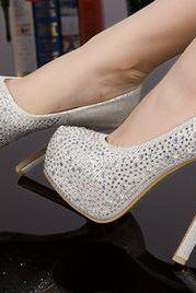 White Bling Design High Heels Fashion Shoes