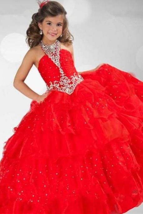 Red 2015 New Hot Pageant Dresses Girls Halter Crystals Organza Princess Red Ball Gown Flower Girl Dresses RG6345