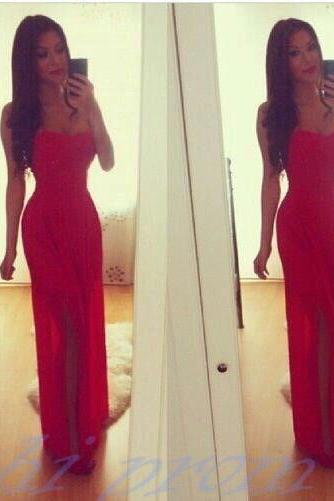Red Evening Dress,Sexy Evening Gowns,Prom Dresses 2015,Party Dresses 2016,Long Prom Gown,Charming Prom Dress,Strapless Party Dress