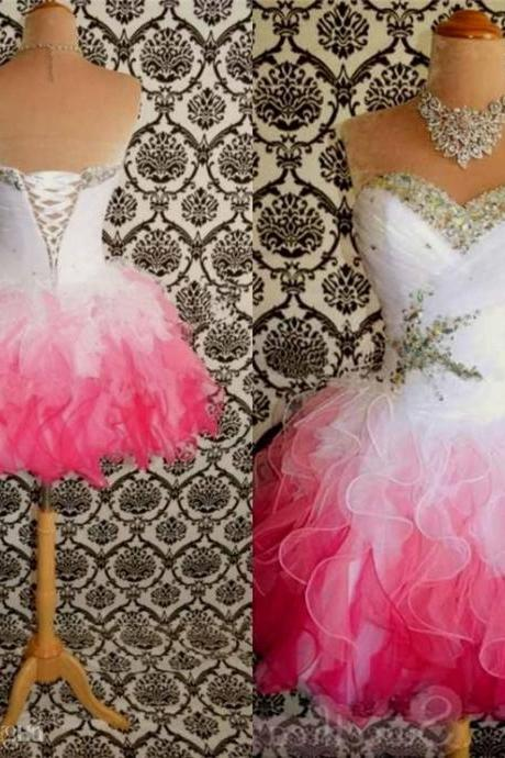 2015 Hot Sale Pink And White Cute Homecoming Dresses Ball Gowns Corset tie Back Graduation Dress Short Prom Dress Cocktail Gowns