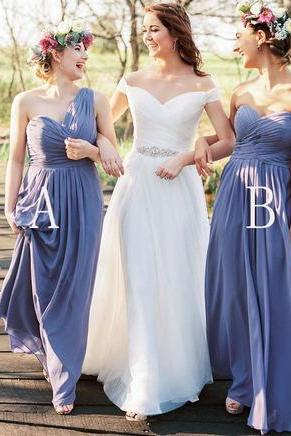 New Long Chiffon Bridesmaid Dresses ,Sweetheart Bridesmaid Dress,Formal Dresses,Long Dress For Bridesmaid ,Evening Dress,Special Occasion Dresses