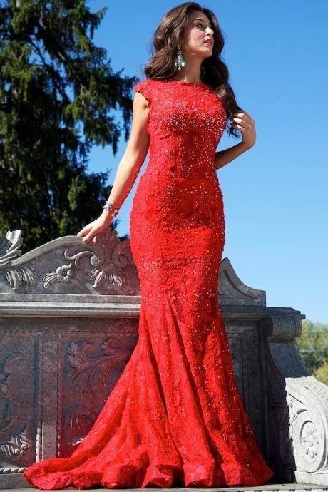 lafine Red mermaid evening dress party dress hollow gown beading dress 2015 hot selling