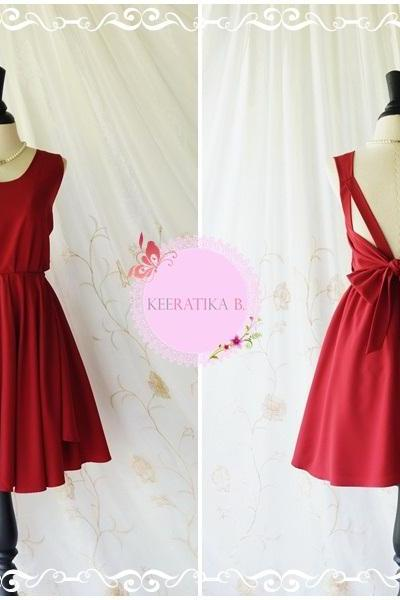 A Party - V Shape Backless Dresses Blood Red Dresses Blood Backless Prom Dresses Cocktail Party Dress Wedding Red Bridesmaid Dresses XS-XL