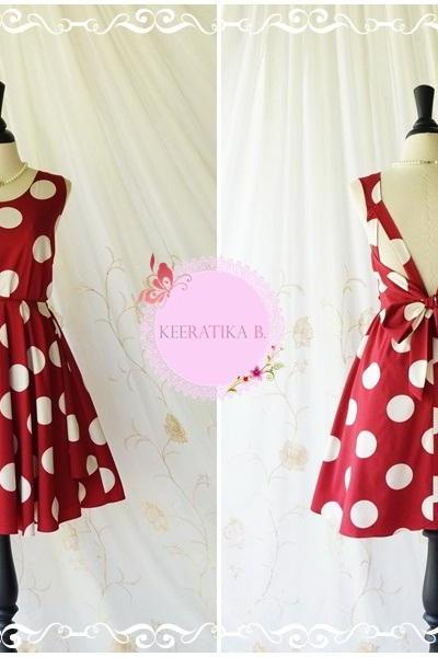 A Party Dress V Shape Polka Dot Dress Burgundy White Polka Dot Prom Party Dress Backless Red Bridesmaid Dress Wedding Cocktail Dress XS-XL