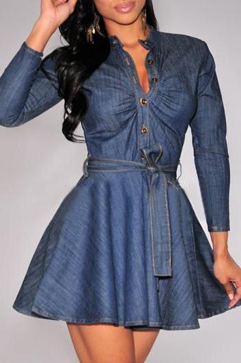 Fashion Ruched Neck Long Sleeve A Line Dress