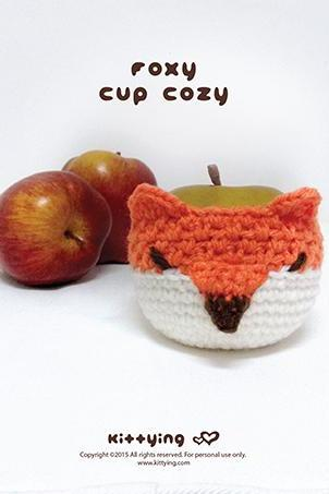 Crochet Pattern Foxy Fruit cozy Apple protector Fox Mug Sleeve Foxie Cup warmer Fox Mug holder Apple cozy Mug cozy Cup cozy
