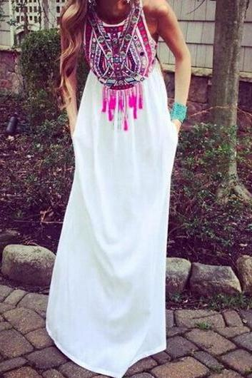 Free shipping Tribal Print Round Neck Maxi Dress