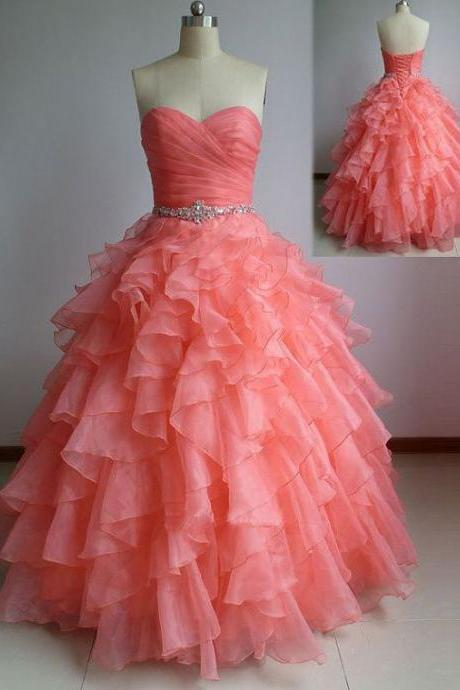 Hot Sale Coral Ball Gown Quinceanera Dresses for 15 Sweetheart Beaded Ruffles Wedding Dresses Prom Gowns
