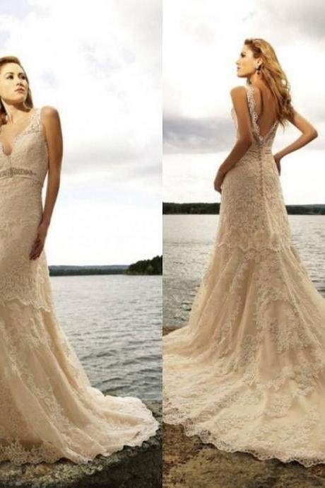 2015 Beach Sexy A-line v-neck wedding dresses Backless long lace wedding dress Sleeveless Bridal Gowns Hot sale