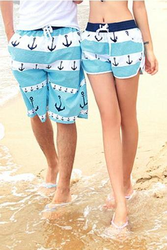 Blue Anchor Swim Wear Beach Sports Trunks Casual Shorts FOr Women