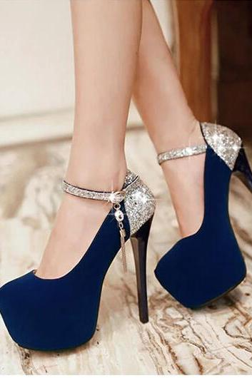 Sexy ultra-high sequins high-heeled shoes with thin with waterproof--blue