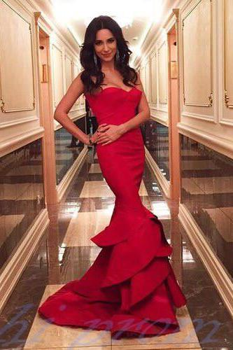 Sexy Evening Dress,Red Evening Gowns,Prom Dresses 2015,Mermaid Evening Dresses,Long Prom Gown,Satin Prom Dress,Strapless Party Dresses