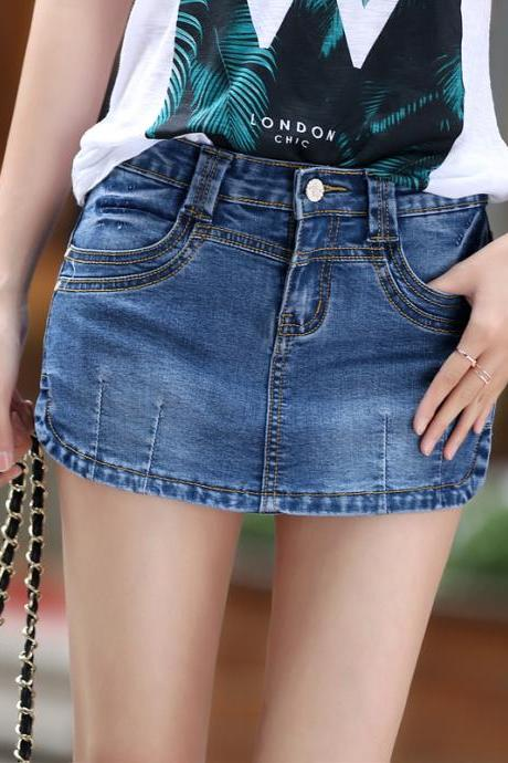 Summer new large size denim shorts skirts skirt sexy hot pants anti emptied