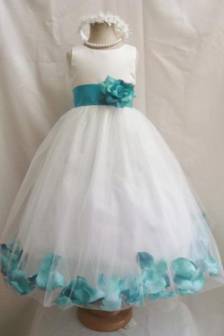 2015 Flower Girl Dresses with Teal Rose Petal Dress Wedding Easter Bridesmaid - For Baby Children Toddler Teen Girls
