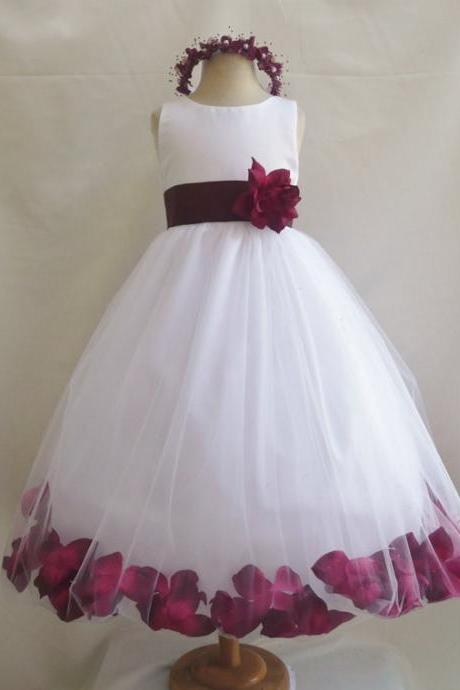 Custom Made Red Sleeveless Tulle Ball Gown Bubble Dress with Floral Decor, Evening Dress, Kids Clothing, Party Frock, Flower Girl Dresses, First Holy Communion Dresses, Pageant Dress