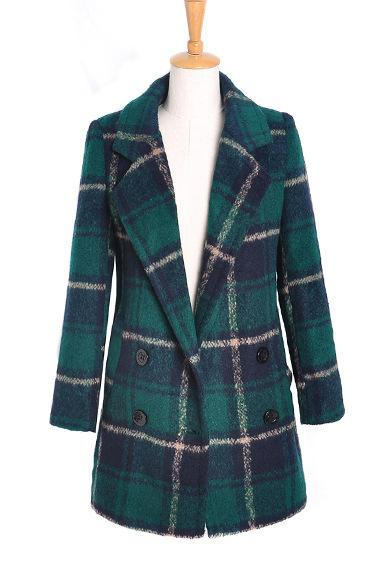 Women's Checkered Long-Sleeved Wool Coat