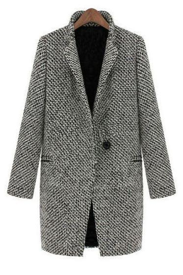 Gray Wool Jacket Gray Jacket-American European Long Winter Coat for Women