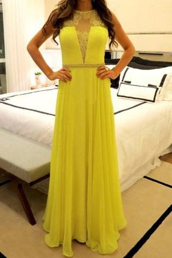 Yellow Lace Splicing High Waist Maxi Dress