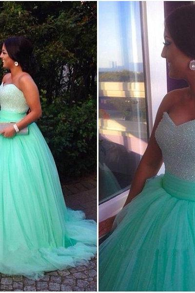 Sweetheart Ball Gown Wedding Dress, Tulle Prom Dress, Prom Gown, Custom Made Ball Gown, 2015 Pageant Dress, Formal Dress, Dresses For Prom ,Special Occasion Dresses