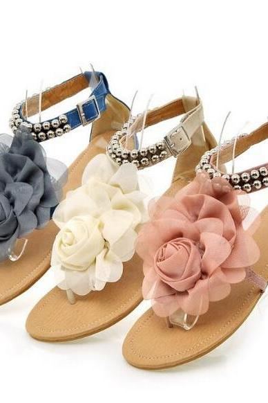 2015 Gladiator Sandals for Women Female Beaded Flower FLat Summer Flip-flop flats Women's Shoes