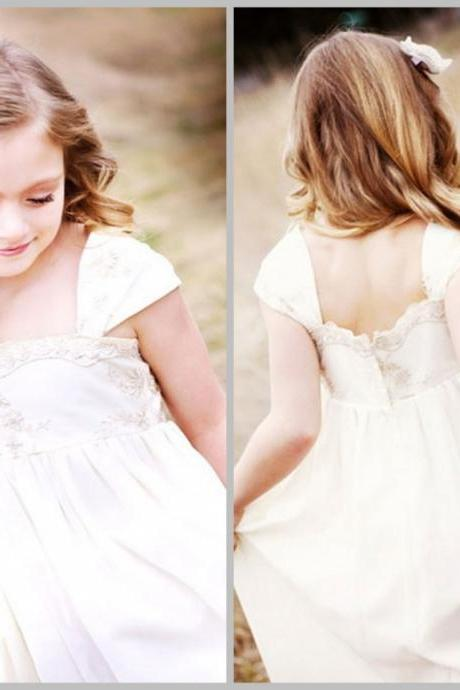 2015 Shoulder Strap Ivory Flower Girls dress Chiffon Toddler girl dress Baby girl dress Bridesmaid dress Girl birthday outfit Rustic flower girl dresses
