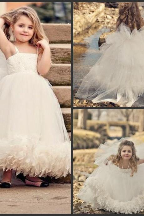 2015 Cute Ball Gown Flower Girl Dresses For Weddings Bow Spaghetti Straps A Line Baby Girls Pageant Dresses Girls Party Dresses