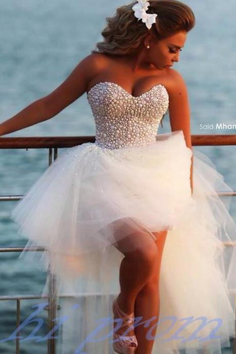 High Low Wedding Dresses,White Wedding Gown,Tulle Wedding Gowns,Sweetheart Bridal Dress For Summer Beach Wedding