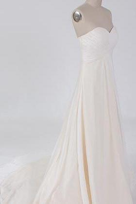 Chiffon Ruched Sweetheart Floor Length A-Line Wedding Dress Featuring Train