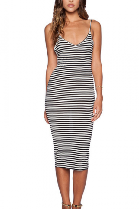 HOT STRIPE STRAPS DRESS