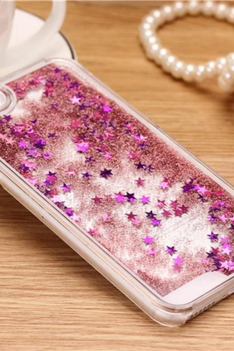 iPhone 7 Plus case, iPhone 6 6s case, iPhone 6 6s Plus case, iPhone 5s case, Bling sparkle glitter stars liquid quicksand phone case
