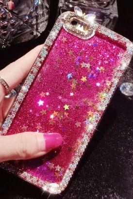 iPhone 7 Plus case, iPhone 6 6s case, iPhone 6 6s Plus case, iPhone 5s case, Crystal Bling sparkle glitter stars liquid quicksand phone case
