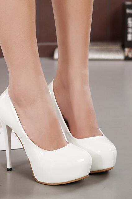 White Patent Leather Stiletto Round Toe Pumps