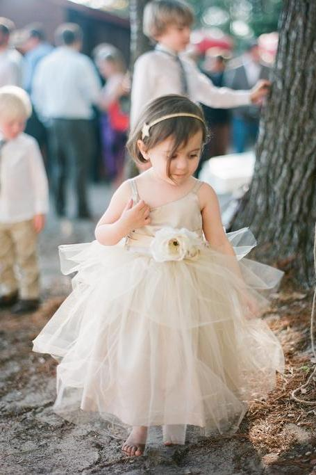 2015 Rustic Ivory Flower Girls dress Forest Girl Dress Wedding Toddler girl dress Baby girl dress birthday outfit flower girl dresses