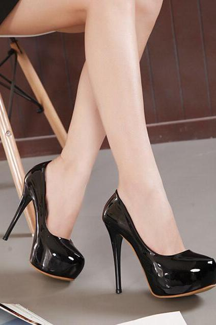 Black Patent Leather Rounded-Toe Platform High Heel Stilettos