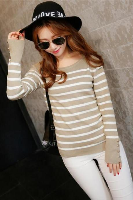Fall and winter clothes new sweater female long-sleeved round neck striped pullover shirt