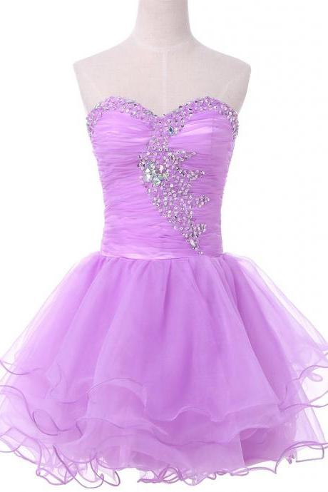 Lavender strapless organza pleated beaded short coctail dress