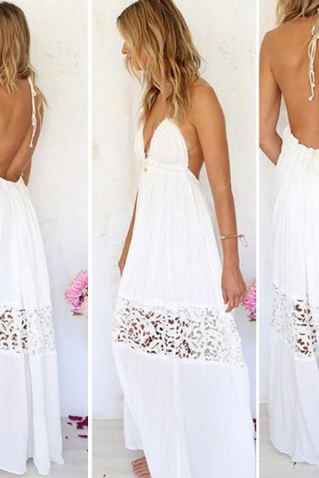 V-neck Backless Crochet Maxi Beach Dress