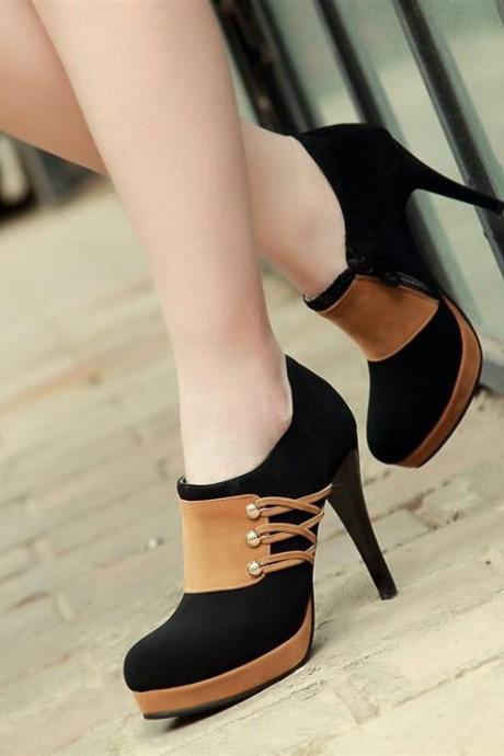 Black Side Zip High Heels Fashion Boots