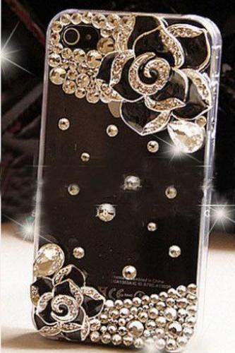 Crystal Flower Bling iPhone 7 Plus, iPhone 6 6s case, iPhone 6 6s Plus case, iPhone 5s SE case, iPhone 5c case, bling wallet case for samsung galaxy note 4 note 5 s7 edge s6 edge s5