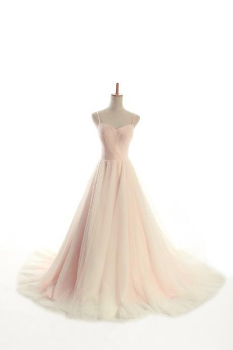 Ruched Sweetheart Spaghetti Straps Floor Length Tulle A-Line Wedding Gown Featuring Train