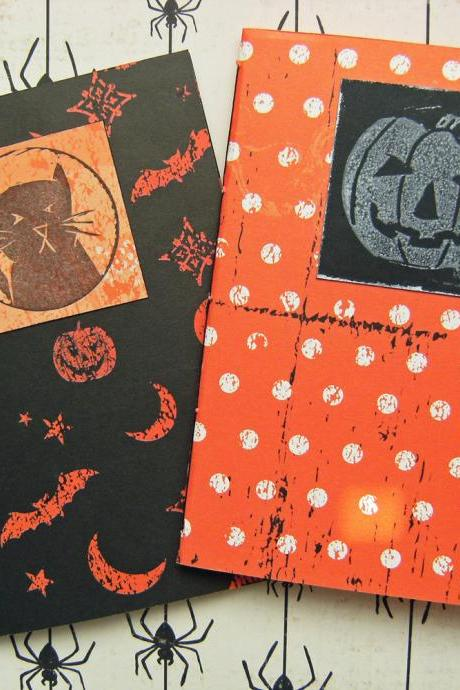 Halloween Notebook Set - Pair of Notebooks with Halloween lino cuts - 6x4 ins