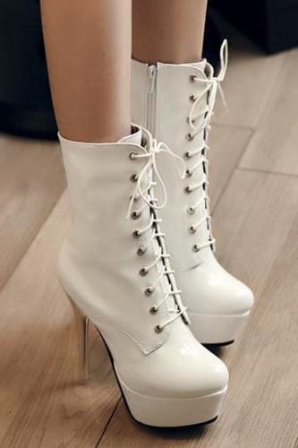 White Lace Up High Heels Fashion Boots