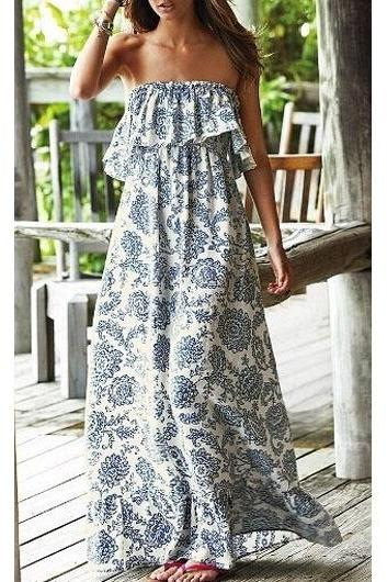 Free shipping Bohemian Style Printed Flouncing Strapless White Maxi Dress