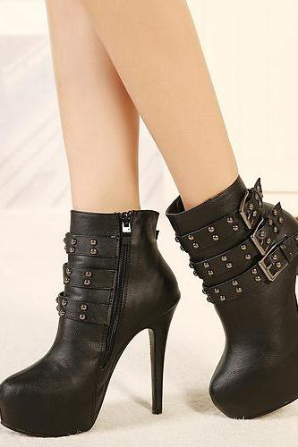 Elegant Rivet Design Black High Heels Fashion Boots