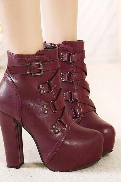 Classy Wine Red Chunky Heel Fashion Boots