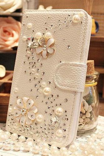 Flower Luxury bling phone wallet case, Bling iPhone 7 Plus leather wallet case, iPhone 6 6s Plus leather case, iPhone 5s SE leather wallet case, iPhone 5 5c leather cover, bling wallet case for samsung galaxy note 5 note 4 s7 edge s6 edge s5