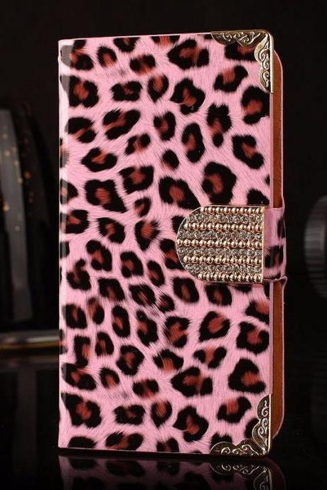 IPhone 6 Case, IPhone 6 Plus Case, IPhone 5s Case, IPhone 4s Case, Bling Wallet Case For Samsung Galaxy Note 4 Note 4 Edge S6 S6 Edge S5 S4 S3,Pink Leopard Luxury bling phone wallet flip case cover