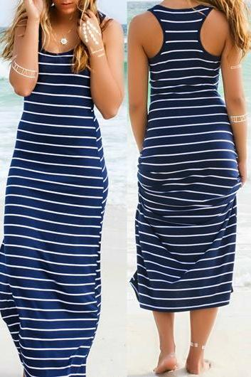 Free shipping Stripe Print Racerback Round Neck Maxi Dress
