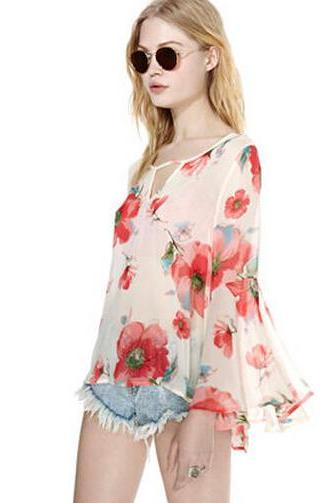 Chiffon shirt with Big Flower